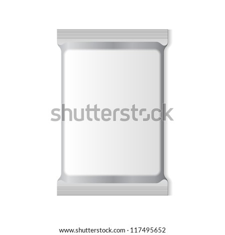 White Blank Foil Packaging Plastic Pack. Ready For Your Design: Snack Product Packing - stock vector