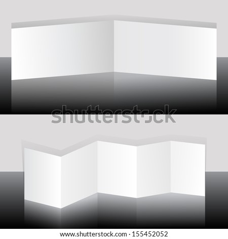 White blank folding booklets vector template. - stock vector
