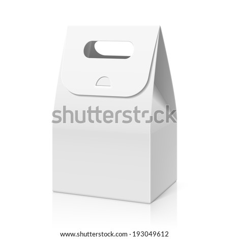 White blank hand cake, bread packaging paper bag. Vector. - stock vector