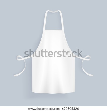 White blank kitchen cotton apron isolated vector illustration. Protective apron uniform for cooking or baker