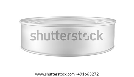 White blank metal tincan for soup, fish, beans and other products. Tin can mock up
