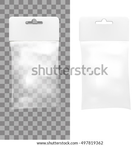 White Blank Plastic Pocket Bag. Transparent. With Hang Slot. EPS10 Vector