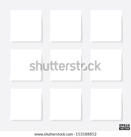 White blank post-it notes or white paper notes.-eps10 vector - stock vector