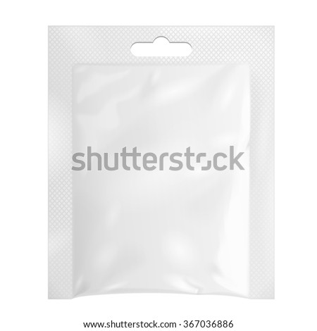 White Blank Retort Foil Pouch Packaging Hang Slot Medicine Drugs Or Coffee, Salt, Sugar, Pepper, Sachet, Sweets Or Condom. Isolated Mock Up Template Ready For Your Design. Product Packing Vector EPS10