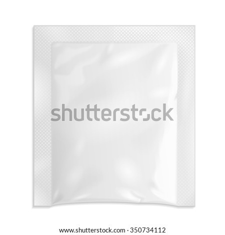 White Blank Retort Foil Pouch Packaging Medicine Drugs Or Coffee, Salt, Sugar, Pepper, Spices, Sachet, Sweets Or Condom. Isolated Mock Up Template Ready For Your Design. Product Packing Vector EPS10