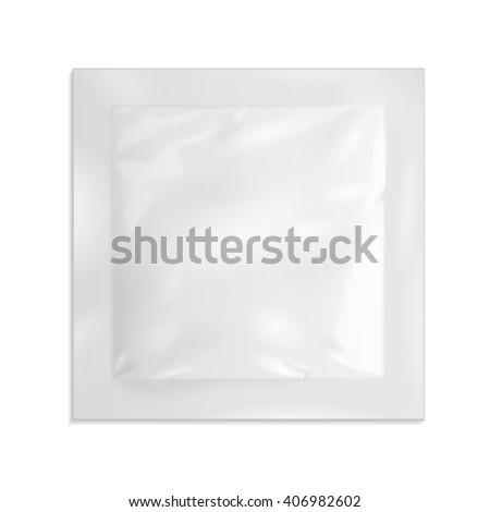 White Blank Retort Foil Pouch Packaging Medicine Drugs Or Coffee, Salt, Sugar, Sachet, Sweets Or Condom. Illustration Isolated On White Background. Mock Up Template Ready For Your Design. Vector EPS10