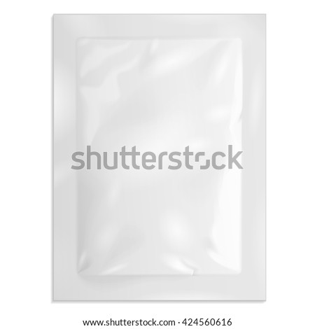 White Blank Retort Foil Pouch Packaging Medicine Drugs Or Coffee, Salt, Sugar, Sachet, Sweets Or Condom. Illustration Isolated On White Background. Mock Up Template Ready For Your Design. Vector EPS10 - stock vector