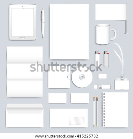 White blank set of vector corporate identity template. Modern business design  presentation brochure, leaflet, envelope, card, badge, cup, tablet pc, pen, pencil. Stationery clean mock-up. - stock vector