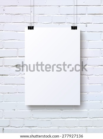 White Blank Vertical Poster Mock Up On The Brick Wall Vector Illustration