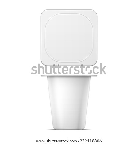 White blank yougurt or jam pot template on white background. Packaging collection. - stock vector