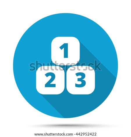 White 123 Blocks icon on blue button isolated on white - stock vector
