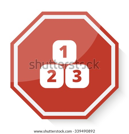 White 123 Blocks icon on red stop sign web app - stock vector