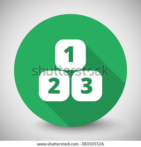 White 123 Blocks icon with long shadow on green circle - stock vector