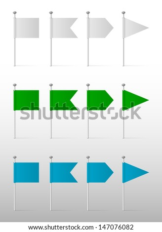 White, blue and green flags on the pins, vector labels - stock vector
