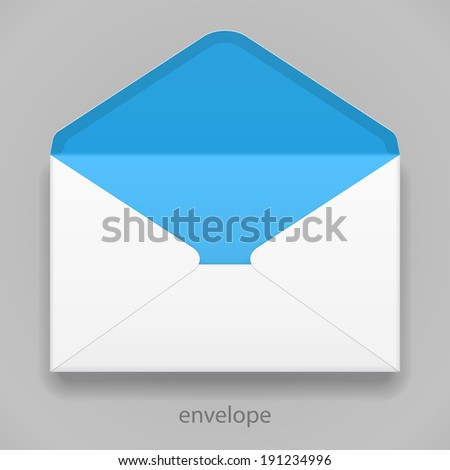 White Blue Blank Envelope Isolated On Gray Background. Ready For Your Design. Product Packing Vector EPS10 - stock vector