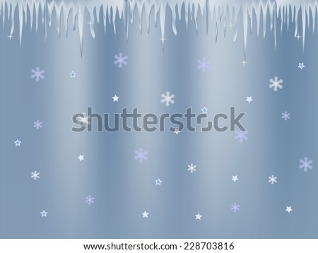 white blue icicle and snowflakes on blue background - stock vector