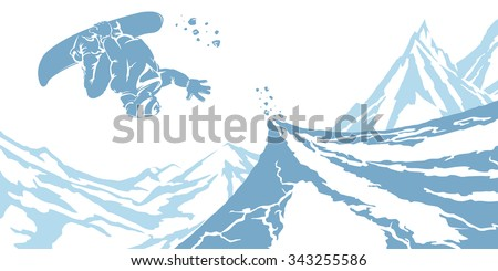 white blue image snowboarder on snow slope on a background of mountain peaks