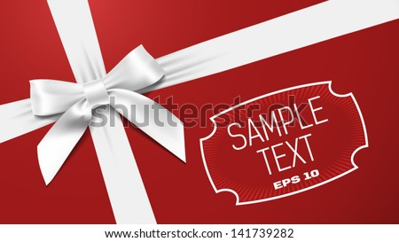 white bow on a red textural background - stock vector