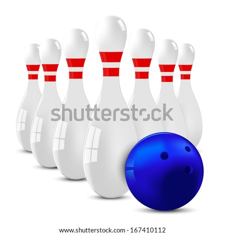White bowling skittles group with blue ball on a white background