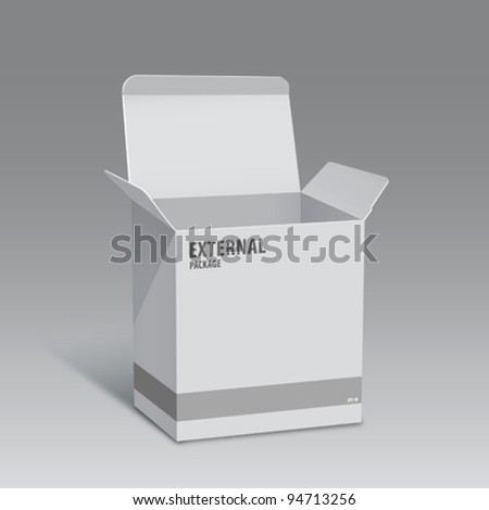 White box external hard drive, vector illustration - stock vector