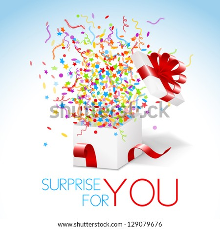 White box with red ribbon and colorful confetti and swirls. Surprise for you title. - stock vector