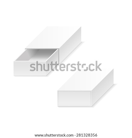 White boxes. Opening and closing. White background.It can be used in the presentation. Template for masking. - stock vector