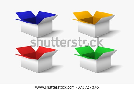 White boxes with color interior - stock vector