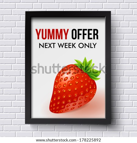 White brick wall pattern with business poster in picture frame. Vector illustration. - stock vector
