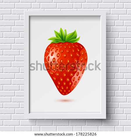 White brick wall pattern with picture frame and strawberry in it. Vector illustration. - stock vector