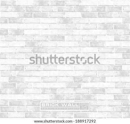 White brick wall seamless vector pattern  - stock vector