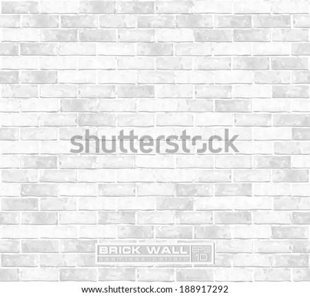 White brick wall seamless vector pattern  - stock vector