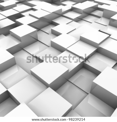 White brick wall, with random height bricks - stock vector