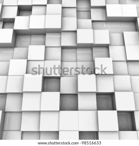 White brick wall, with random height bricks. Vector - stock vector