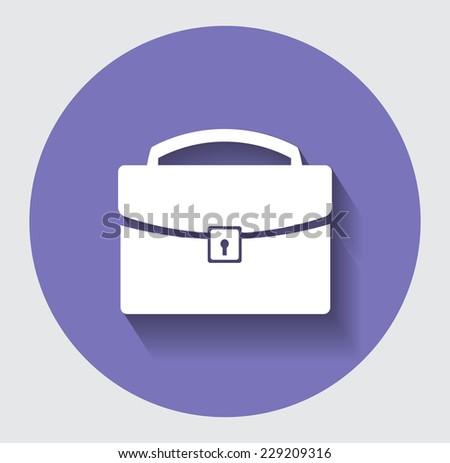 White briefcase icon - stock vector