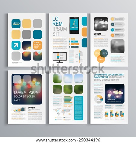 White brochure template design with blue and orange geometric shapes. Cover layout and infographics - stock vector