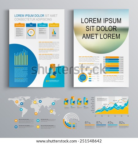 White brochure template design with blue circles. Cover layout and infographics - stock vector