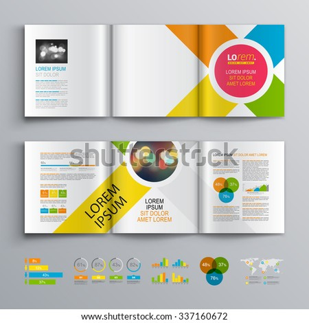 White brochure template design with central pink circle and color diagonal stripes. Cover layout and infographics - stock vector