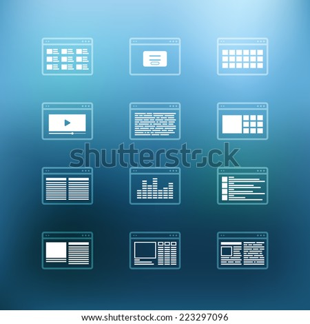 White browser windows clip-art on color background. Design elements - stock vector