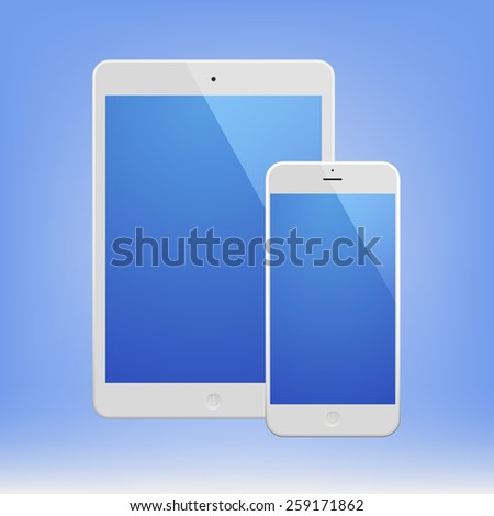 White Business Phone and White tablet with blue screen. Illustration Similar To iPhone, iPad. - stock vector