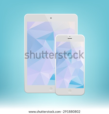 White Business Phone and White tablet with triangle background. Illustration Similar To iPhone, iPad. - stock vector