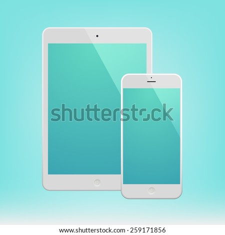 White Business Phone and White tablet with turquoise screen. Illustration Similar To iPhone, iPad. - stock vector