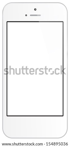 White Business Phone Illustration Isolated On White Background Similar To iPhone - stock vector