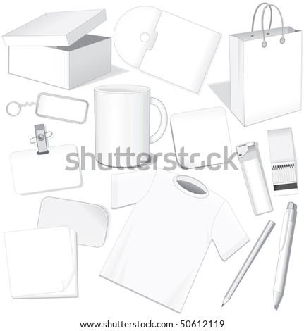 White business templates: paper, card, package, cd, cup, pen, layout, t-shirt - easy editable vector without gradients - stock vector