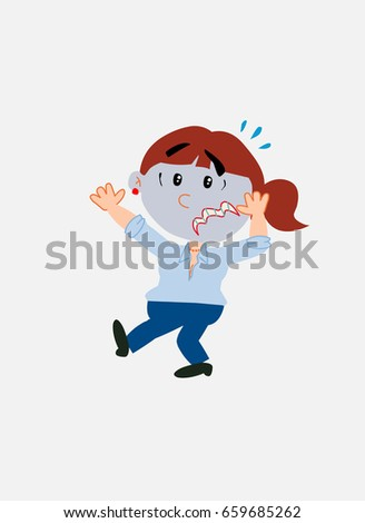 White businesswoman. Vector illustration isolated in a funny cartoon style. The character is terrified.