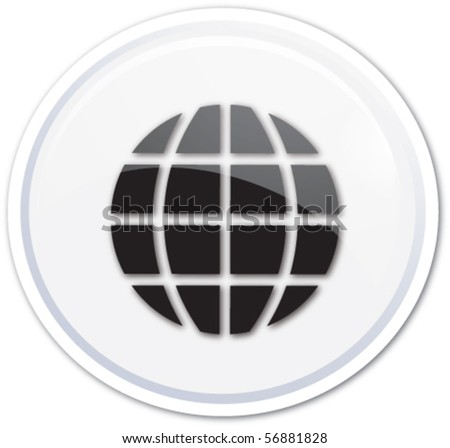 White button globe - stock vector