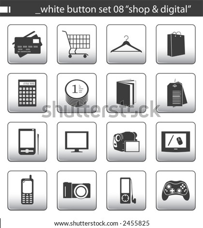 "white button set 08 ""shop & digital"" - stock vector"