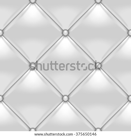 White button-tufted leather background. White upholstery seamless pattern. Vector illustration. - stock vector