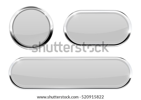White buttons with chrome frame. Vector illustration isolated on white background