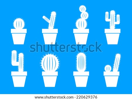 White cactus icons on blue background - stock vector