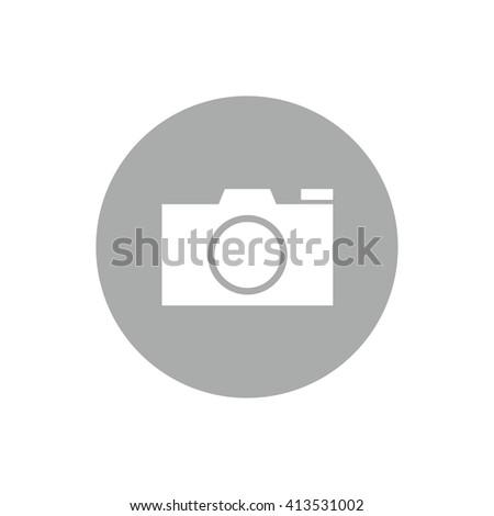 White camera vector icon. Gray circle. Gray button - stock vector